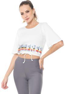 Camiseta Cropped Alto Giro Costine Off-White