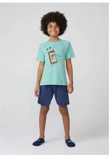 Pijama Infantil Menino Manga Curta Verde