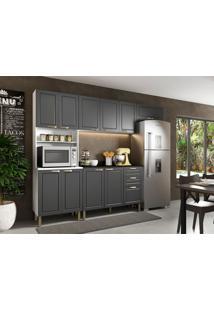 Cozinha Compacta Nevada Vi 10 Pt 3 Gv Grafite E Branca