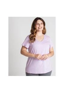 Camiseta Gola V Super Feminina Roxo