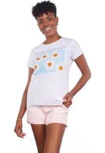 Camiseta Manga Curta Feminina Estampa Margaridas - Feminino