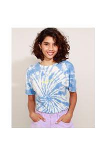 """Camiseta Feminina Estampada Tie Dye """"Optimist"""" Manga Curta Decote Redondo Azul"""