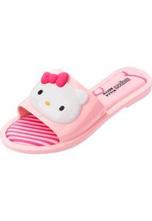 Chinelo Melissa Slipper + Hello Kitty Ad Rosa/Branco