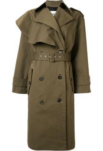 Msgm Trench Coat Com Abotoamento Duplo - Verde