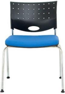 Cadeira Rombo Cromada Encosto Preto Assento Azul - 30369 - Sun House
