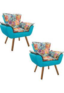 Kit 02 Poltrona Decorativa Opala Suede Composê Estampado Street D05 E Suede Azul Tiffany - D'Rossi
