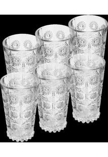 Conjunto De 6 Copos De Vidro P/Drink De 300Ml – Linha Starry