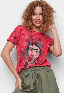 T-Shirt Cantão Slim Artista Feminina - Feminino-Vermelho