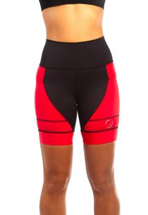 Bermuda De Corrida Rh X4 Sports Preta/Vermelha