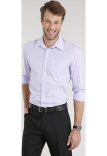 Camisa Masculina Comfort Listrada Manga Longa Lilás
