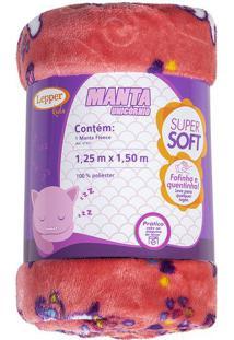 Manta Fleece Solteiro Unicórnio- Coral & Branca- 125Lepper