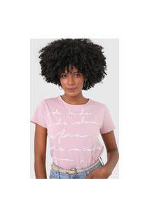 Camiseta Lez A Lez Lettering Rosa/Branco