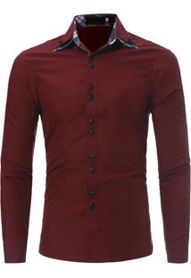 Camisa Masculina Casual Slim Manga Longa - Vermelho Escuro M