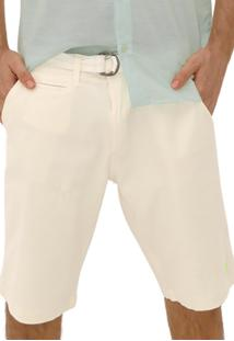 Bermuda Slotyx Chino Com Cinto Off White - Off-White - Masculino - Dafiti