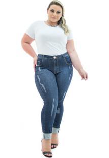 819a5397390975 Calça Jeans Confidencial Extra Plus Size Cigarrete Destroyed Feminina -  Feminino-Azul Escuro