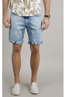 Bermuda Jeans Masculina Slim Com Barra Dobrada Estampada Azul Claro