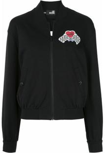 Love Moschino Jaqueta Bomber Com Patch - Preto