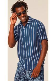 Camisa Azul Tradicional Listrada