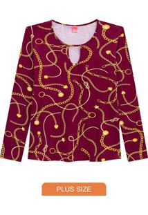 Blusa Bordô Estampada Com Abertura Frontal