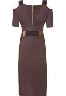 Vestido Cinto Elástico - Cinza