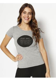"Blusa ""Just Say Yes""- Cinza & Preta- Physical Fitnesphysical Fitness"