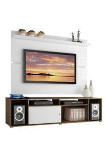Rack Madesa Cancun E Painel Para Tv Até 65 Polegadas Rustic/Branco/Branco Branco