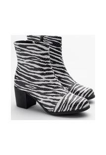 Bota Feminina Beth Zebra Branco