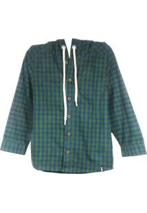 Camisa Infantil Bugbee Xadrez Masculina - Masculino-Verde