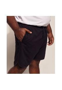 Bermuda De Moletom Masculina Pipe Plus Size Com Bolsos Preta