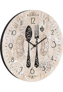 Relógio De Parede Talheres Bege