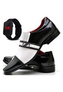 Sapato Social Com E Sem Verniz Fashion Com Relógio Led Dubuy 820El Branco
