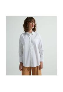 Camisa Alongada Manga Longa Em Tricoline Com Bolsinho Frontal | Cortelle | Branco | M