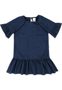 Vestido Infantil Menina Em Viscose Maquinetada E Babados Puc