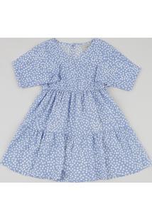 Vestido Infantil Estampado De Poá Com Transpasse Manga Longa Azul Claro