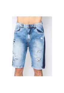 Bermuda Masculina Jeans Navy Blue Stripe Emporio Alex Malha Azul