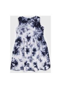 Vestido Gap Infantil Tie Dye Branco/Azul-Marinho