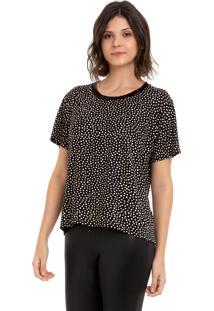 Camiseta Aura Bolinhas Preto