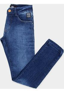 Calça Jeans Slim Juvenil Fatal Masculina - Masculino-Azul