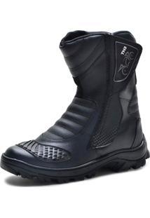 Bota Motoqueiro Cano Alto Em Couro Mine Shoes Preta