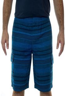 Bermuda Sarja California Prime Elástico Listrada Azul