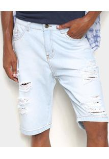Bermuda Jeans Ecxo Com Puídos Masculina - Masculino-Azul Claro