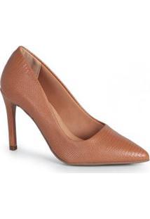Sapato Scarpin Feno Lizard Caramelo Caramelo
