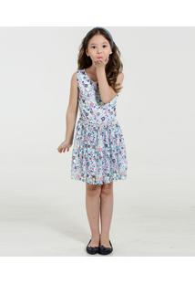 Vestido Infantil Renda Estampa Floral Marisa