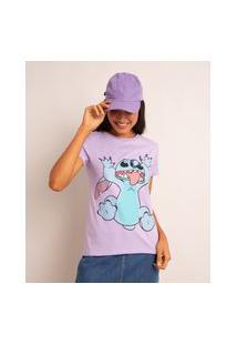 Camiseta De Algodão Estampada Stitch Manga Curta Decote Redondo Lilás