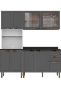 Cozinha Modulada 4 Peças Com Tampo E Nevada 5904Vdtp-Multimóveis - Branco Premium / Grafite Premium