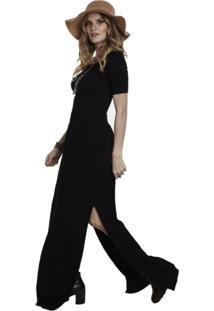 Vestido Manola Longo Com Fenda Preto