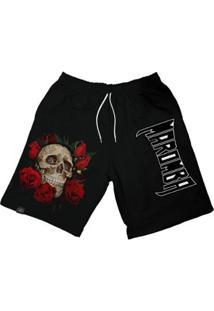 Bermuda Maromba Fight Wear Dry Skull Com Rosas Com Bolsos Masculina - Masculino-Preto