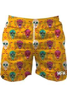 Bermuda Maromba Fight Wear Mexican Skull Masculina - Masculino-Amarelo