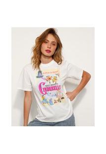 T-Shirt De Algodão Cinderella Manga Curta Decote Redondo Mindset Off White