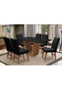 Conjunto De Mesa Para Sala De Jantar Com 6 Cadeira Veneza-Dobue - Cedro / Preto / Preto Vlp